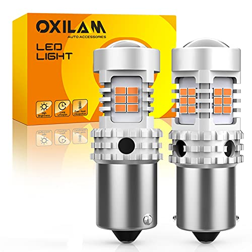 OXILAM 7507 PY21W BAU15S LED Bulbs Amber Yellow 2800LM for Turn Signal Lights with Build-in Load Resistor CANBUS Error Free 2641A 12496 7507AST Bulb Replacement (2PCS)