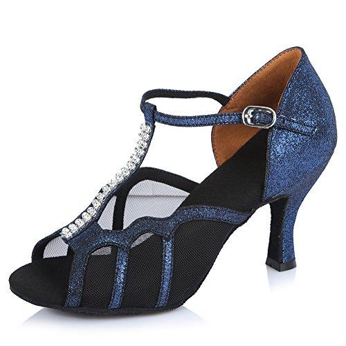 HIPPOSEUS Zapatos de salón de Baile Latino para Mujer Brillo de Cuero con Suela de Gamuza de Strass,AF-45326,Azul Color,EU 38