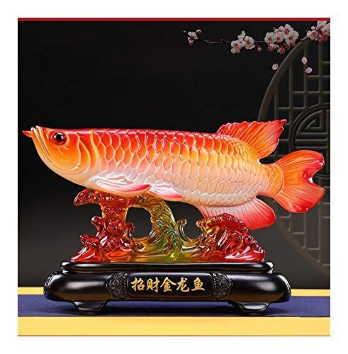 JWGD Buena Suerte Feng Shui Decorativo Estatua Dibujo Arowana pez Dorado (Talla : 25cm Long)