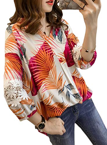[Bestmood]アロハシャツ レディース 長袖 ゆったり Vネック 花柄 シャツ レース付き ファッション シャツ カジュアル リゾート風 トップス おしゃれ 大きいサイズ 夏(Wオレンジ)