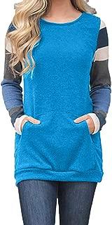 Miuye yuren-Women Color Block Long Sleeve Tunic Sweatshirt Tops with Kangaroo Pocket