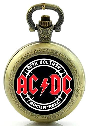 ACDC - Collar de reloj de bolsillo de cuarzo con correa de CC – efec