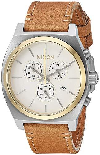Nixon Unisex Erwachsene Chronograph Quarz Uhr mit Leder Armband A1164-2548-00