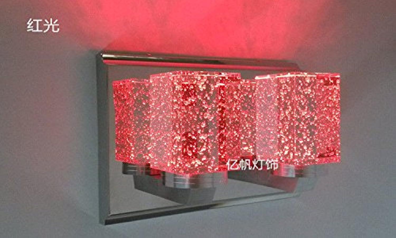 StiefelU LED Crystal Wand lampe Schlafzimmer Bett Wandleuchten road Led Flur ist ein einziges Haupt helle Wand Lampen, voller Luftblasen 3w - rotes Licht