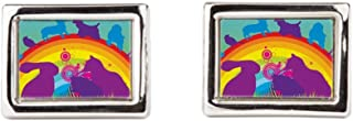 Cufflinks (Rectangular) Animal Dog Cat Bird Lover Rainbow