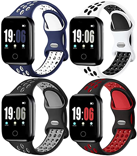 ElaikementSport Band Compatible for Watch Bands 44mm 42mm Women Men, Breathable Sporty Replacement Wrist Strap Compatible for Watch Band Series 5/4/3/2/1 All Various Styles, 44/42mm M/L-4PACK
