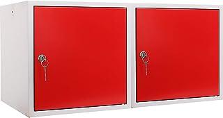 Mega Deal Lot de 2 cubes de rangement pour salle de bains Rouge 35 x 35 x 35 cm