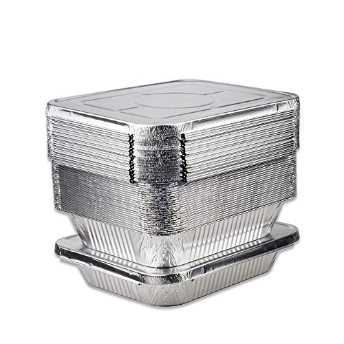 """BYBAIZ Aluminum foil Pans with lids(22Pcs) Disposable Food Containers.Campfire Camp cookware,BBQ Grill,Meal Cooking, Baking, Roasting, Grilling, Pizza,Cookies,Buns,Buffet Trays(12.75""""X10.25""""X2.5"""")"""