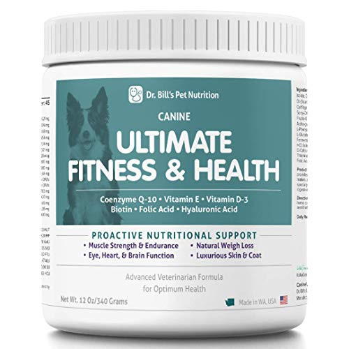 Dr. Bill's Canine Ultimate Fitness & Health | Pet Supplement | Complete Multivitamin for Dogs | Includes Coenzyme Q-10, Vitamin E, Vitamin D-3, Biotin, Folic Acid, and Hyaluronic Acid | 680 Grams