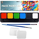 Face Paint Kit for Kids, 6 Large Water Based Face Paints, 2 Brushes and 2 Sponges Face Paint Palette, Face Paints Safe for Sensitive Skin, Face Painting E-Book