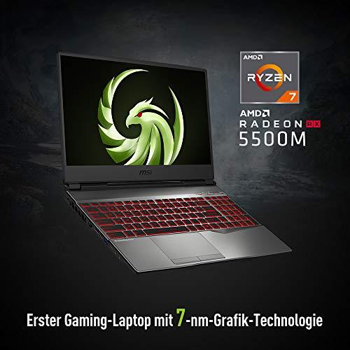 MSI Alpha 15 A3DD-077 (39,6cm/15,6 Zoll/120Hz) Gaming-Laptop (AMD Ryzen 5 3550H, 8GB RAM, 512GB PCIe SSD, AMD Radeon RX5500M 4GB, Windows 10)