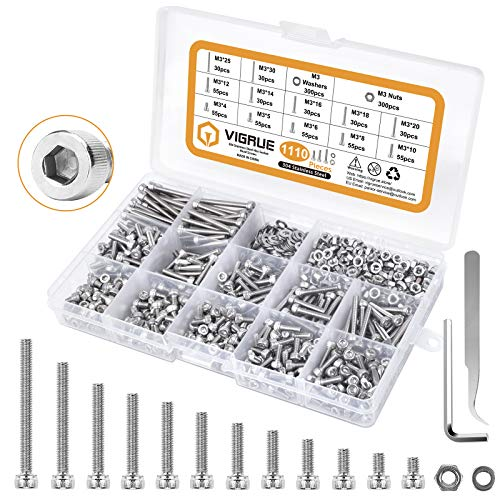 VIGRUE M3×4/5/6/8/10/12/14/16/18/20/25/30mm Stainless Steel Hex Socket Head Cap Screws and Nuts Assortment Kit with Allen Wrench 1110pcs