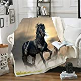 SMNVCKJ - Coperta in pile per cavalli e cavalli, in microfibra, calda, per adulti e bambini (6,100 x 140 cm)