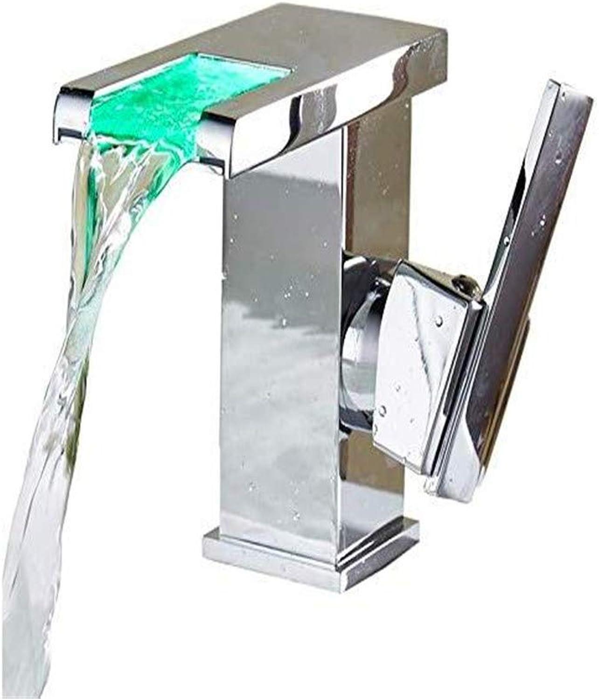 Wasserhahn Becken Wasserhahn Badezimmer Wasserhahnled Intelligente Beleuchtung Temperaturregelung Farbwechsel Kreative Waschbecken Wasserhahn Heier Und Kalten Wasserfall Becken Wasserhahn Becken