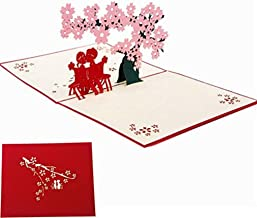 3D Love Pop Up Card and Envelope - Romantic Unique Pop Up Greeting Cards for Birthday, Christmas, New Year, Anniversary, Valentine, Wedding, Graduation, Thank You. Pink Cherry Blossom Tree Love Couple