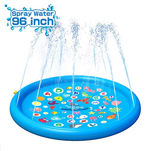 """QPAU Sprinkler for Kids, Splash Pad, Sprays Up to 96 inch, Baby Pool for Learning, Inflatable Water Toys, 60"""" Outdoor Swimming Pool for Babies and Toddlers(Blue)"""