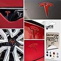 IPG Für Tesla Model 3 Logo Aufkleber Wrap Kit (9 Logo Set) Emblem Overlay Aufkleber – Emblem Do it Yourself Aufkleber Set Personalisieren Sie Ihr Modell 3 (Pearl Red)