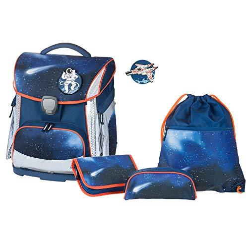 Juego de Mochila Escolar Plus con Estuche, Estuche y Bolsa de Deporte, Azul Oscuro, Ligero, ergonómico, 4 Piezas