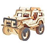 Lumanuby 1 x Jeep 3D Puzzle juguete de madera maqueta Kits corte láser para adultos y niños mesa decoración para casa u oficina regalo para amantes de la artesanía tamaño 12,1 x 7,5 x 7,7 cm