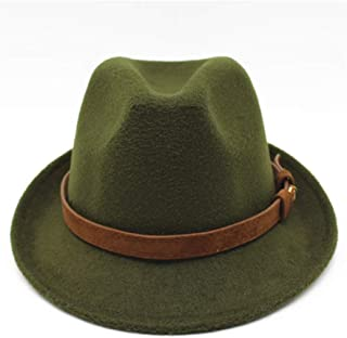 Fashion Sun Hat for 100% Wool Fashion Men Women Felt Fedora Hat with Belt British Hat Godfather Church Jazz Hat Autumn and Winter Models Denim Universal Jazz Suitable for hot Weather Season