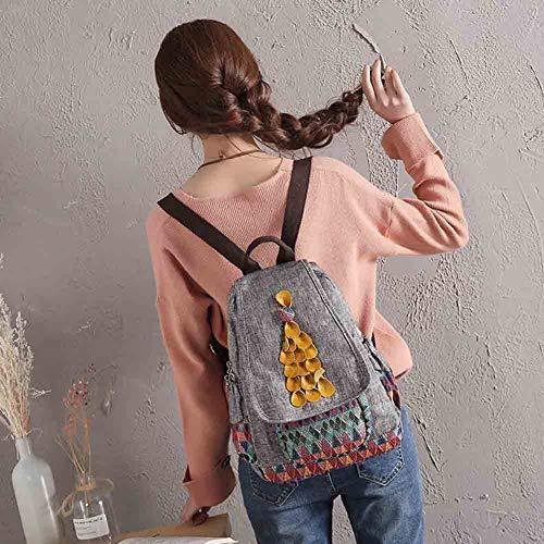 Sunny Ethnische Stoff Rucksack Frauen Casual Rucksack Literarische Reisetasche Dreidimensionale Handgemachte Blume Design, 36 * 25 * 10 cm (Farbe : B)