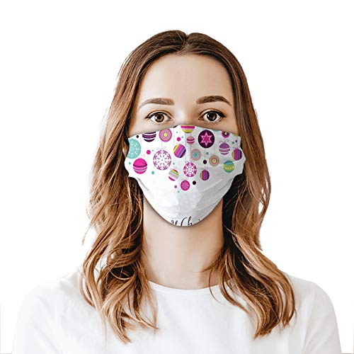 niBBuns New Colorful Graphic Baubles with Retro Snowflake Ornaments Celebration Hand Writing Mouth Cover for Women,Face Mask Reusable Washable Cloth for Men