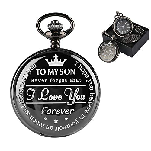Boy's Quarz Taschenuhr römische Zahlen Display Kette Gravierte Taschenuhr to My Son Taschenuhr zu Meinem Sohn with Box