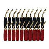 BQLZR 2mm Red & Black Gold-Plated Copper Banana Plugs Adapter Speaker Audio Wire