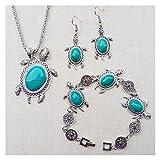 DSJTCH Juego de joyería Caliente Retro Pendientes Pendientes Collar Cadena de Mano Accesorios Conjunto (Color : Green)