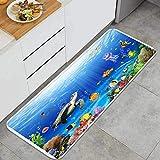 RUEMAT Alfombra de Cocina Antideslizante,Fondo Azul del Acuario del océano,Estera de Cocina Felpudos Decorativo Alfombra para Dormitorio Baño Pasillo 45 x 120cm