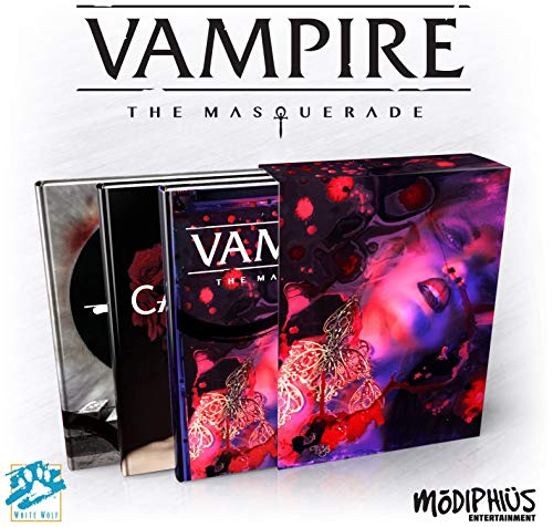 Modiphius Entertainment Vampire: The Masquerade 5th Ed. Slipcase Set RPG for Adults 18 Years Old and Up (3 Books in Slipcase, Hardback, Full Color RPG)