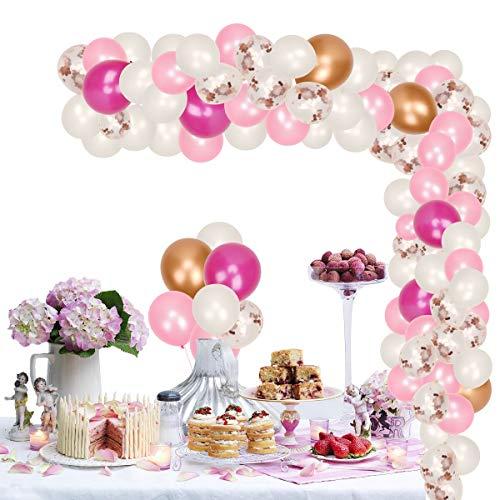 Herefun Kit de Guirnalda de Globos, Kit de Arcos de Globos con Cinta, Herramienta de Atado, Bombas de Globo para Fiesta de Cumpleaños Aniversario Decoración (Rosa)