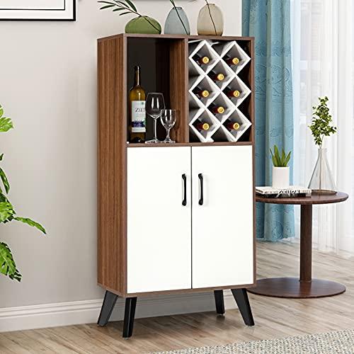 COSTWAY Freestanding Wine Cabinet, 8 Bottles Wine Holder Sideboard with 2 Doors Cupboard and Display Shelf, Home Kitchen Dinning Living Room Storage Organiser Unit