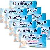 Salviette igienizzanti ipoallergeniche con clorexidina ed estratti di aloe vera,ideale per pelle sensibili dei bambini (Confezione da 10 pz) 200 strappi