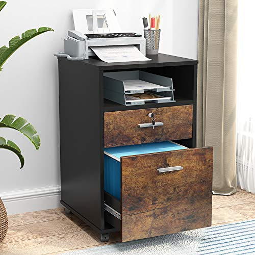 Tribesigns 2 Drawer Mobile File Cabinet with Lock, Wood Modern Filing Cabinet for Letter Size, Printer Stand with Rolling Wheels and Open Storage...