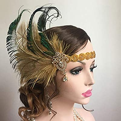 Asooll Vintage 1920s Flapper Peacock Feather Headband Crystal Showgirl Headpiece Pearl Headdress for Women