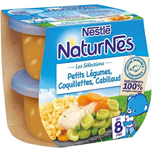NESTLE NATURNES Les Sélections Petits Pots Bébé Petits Légumes, Coquillettes, Cabillaud - Dès 8 mois - 2x200g - Pack de 8 ( 16 Pots )