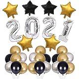Phosphor 2021 Neujahr Thema Ballon Set Golden Fünfzackigen Stern Ballon Set Geeignet für Neujahr...