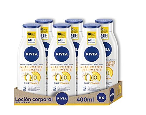 NIVEA Q10 Plus Vitamina C Loción Reafirmante Corporal pack de 6, 6 x 400 ml, loción hidratante corporal para piel normal, coenzima Q10 para una piel elástica en 10 días