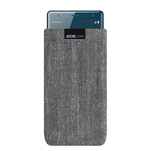 Adore June Business Tasche passend für Sony Xperia XZ2 Handytasche aus charakteristischem Fischgrat Stoff - Grau/Schwarz | Schutztasche Zubehör mit Bildschirm Reinigungs-Effekt | Made in Europe