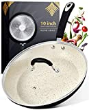 Stone Coated Nonstick Frying Pan with Lid - 10 Inch Frying Pans Nonstick Pan with Lid Skillets Nonstick with Lids Non Stick Pan Cooking Pan Fry Pan Skillet with Lid Large Frying Pan Non Sticking Pan