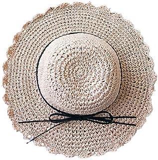 Beito 1PC Adultes Floppy Pliable Large Brim Chapeaux de Soleil d/ét/é Plage Chapeau de Paille avec Bowknot Visor Chapeau Kaki