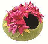 "Le Sharma Eco-Cat Cave Deluxe, 100% All Natural Felted Wool, 20"" Diameter, 11"" Height, Handcrafted Cat Bed (Azalea/Lime Green)"
