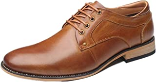 MYHYZZ-Oxfords Business Oxford for Men Classic Shoes Lace up Genuine Leather Pointed Toe Vegan Wear-resistance Block Heel Stitching