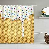 Duschvorhang Essen Cartoon wie Bild von & Schmelzen Eistüten Farbige Streusel drucken wasserdichte Bad Liner Haken enthalten - Badezimmer dekorative Ideen