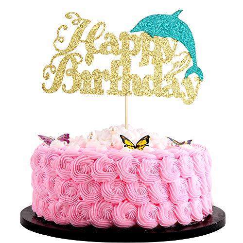 Artczlay Creative Happy Birthday Cake Topper Golden Blue Shiny Dolphin Double Handmade Birthday Party Cake Decoration