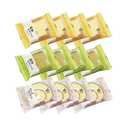 三星社 レインボーシリーズ 蜂蜜かすてら・抹茶かすてら・ロールカステラ(3種各4コ・計12コ)セット