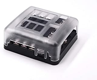 6-Way Fuse Block W/Negative Bus - JOYHO ATC/ATO Fuse Box with Ground, LED Light Indication & Protection Cover, Bolt Connect Terminals,70 pcs Stick Label, For Vehicle Car Boat Marine Auto