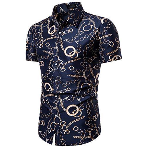 T-Shirt Top Flower Casual Button Down Down Manica Corta Camicia Hawaiana Estiva Sottile Allentata con Colletto rovesciato Stampato da Uomo (XL,5- Marina Militare)
