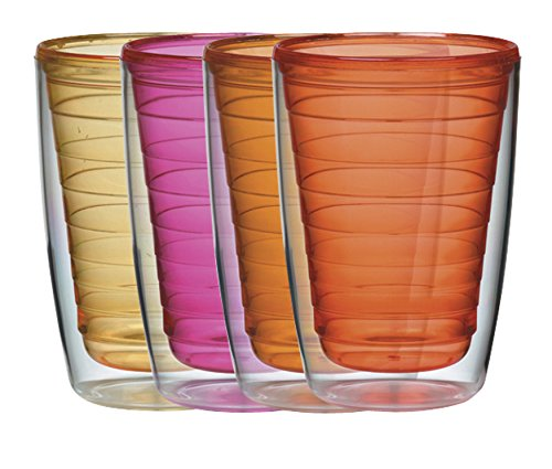 Boston Warehouse Insulated Plastic Tumblers, 16-Ounce, Set of 4, Sunset Collection